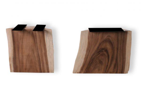 Baumstammtischbein aus Suarholz mit natürlich gewachsener Form - 2er-Set