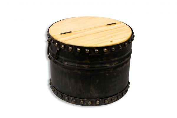 Metallcouchtisch mit Holzdeckel aufklappbar Ø 57 cm - front view