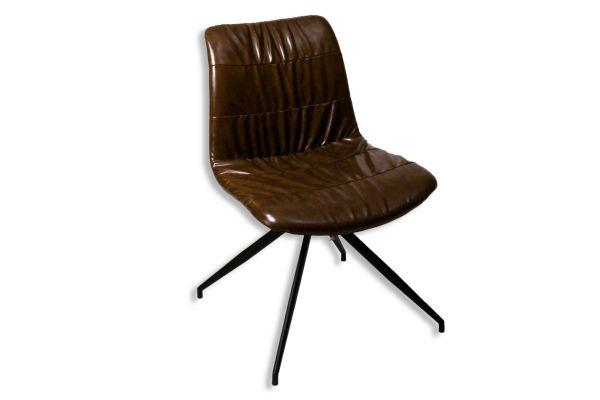 Stuhl Kunstleder braun, Metall Untergestell - front view