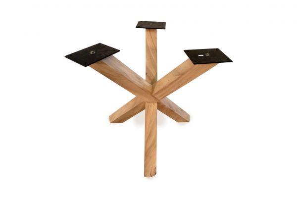 Tischuntergestell - Tischbein - Massivholz mit drei Beinen - Side view
