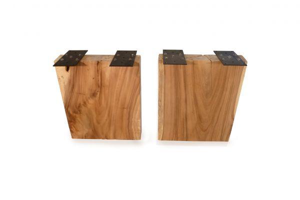 Massivholz Tischwangen rechteckig - 2er-Set - 60 cm breit - front view